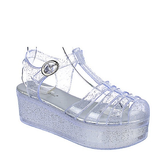 819ba25a8065 Platform Glitter Clear Jelly sandals. M 5a9ccde32ae12feb865a1898